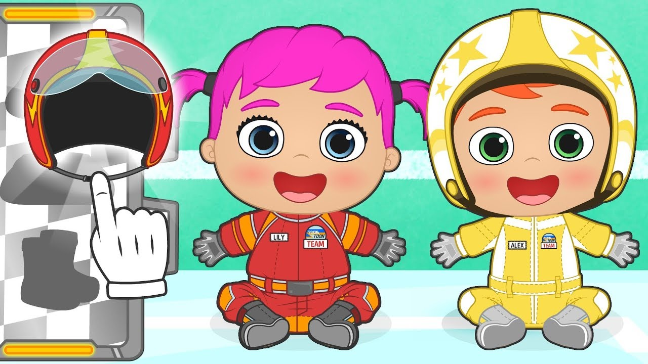 baby-alex-and-lily-dress-up-as-racing-drivers-educational-cartoons-for-children