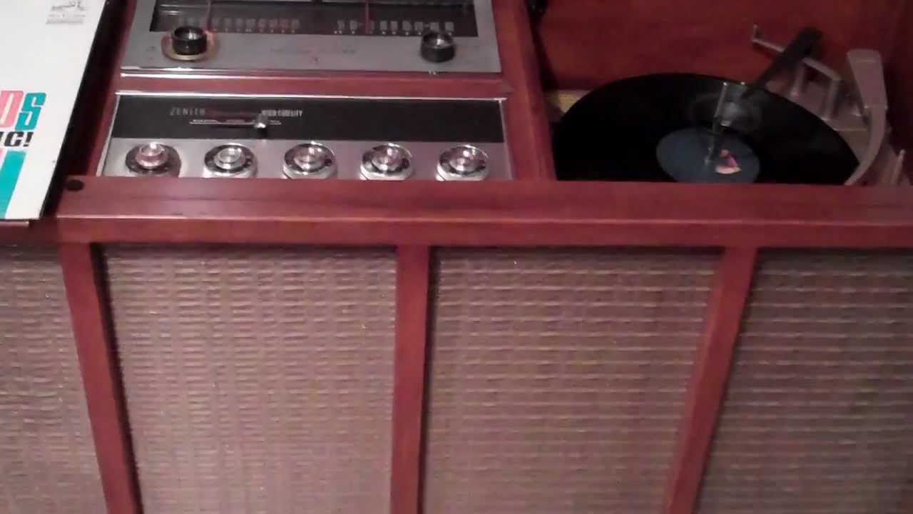 1961 Zenith Console Stereo Demonstration Playing Rca