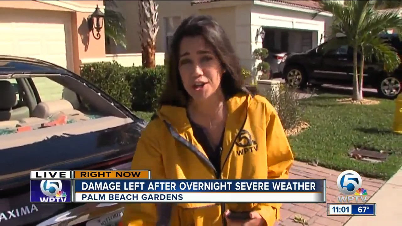 Cars, homes damaged by storms in Palm Beach Gardens - YouTube