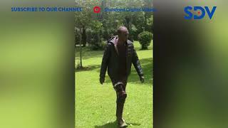 Raphael Tuju walking after weeks of recovering from serious injuries