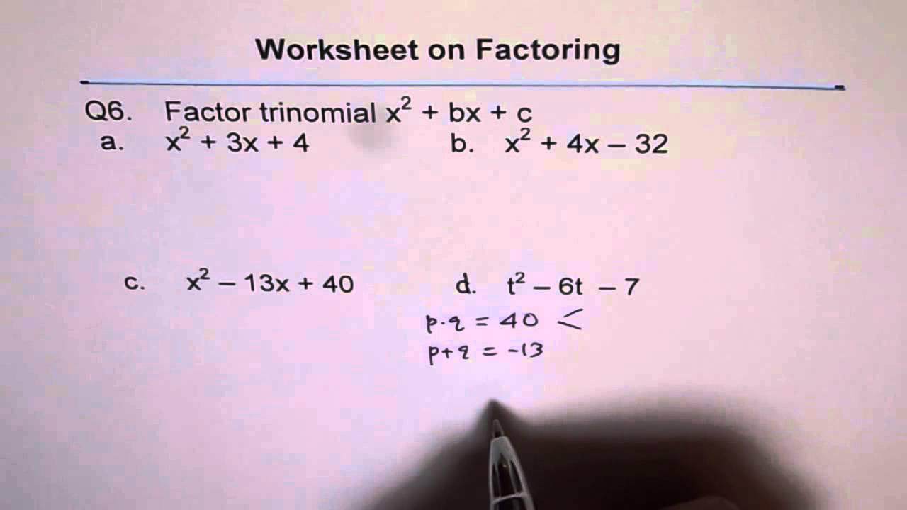 Factor Trinomial Worksheet Q6 YouTube – Factor Trinomials Worksheet