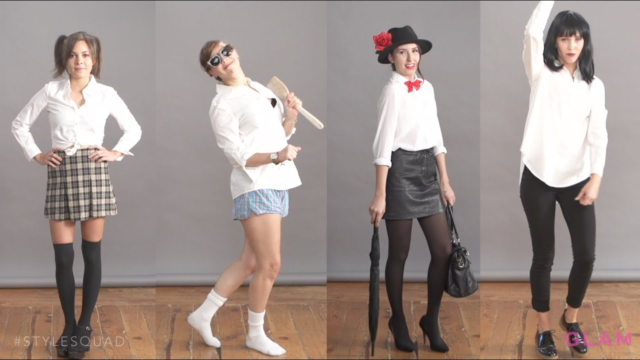 diy halloween costumes using a white button down style squad glamcom youtube