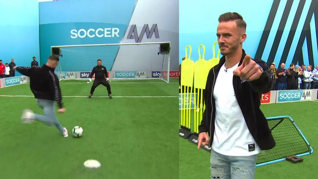 James Maddison vs Samson Kayo | Penalties, volleys, freekick & crossbar challenge | Soccer AM Pr
