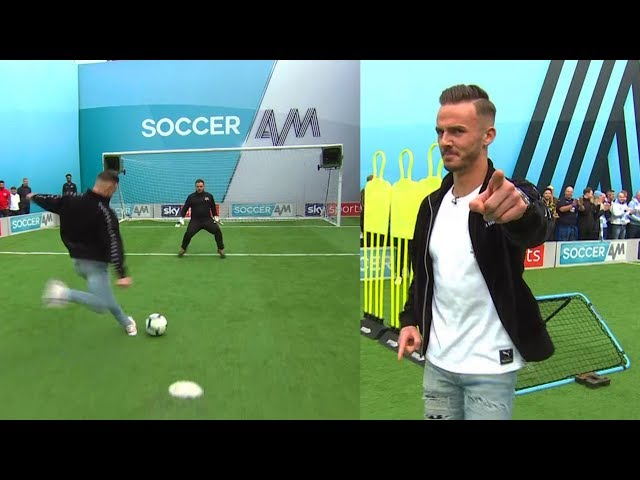 James Maddison vs Samson Kayo | Penalties, volleys, freekick & crossbar challenge | Soccer AM Pro AM