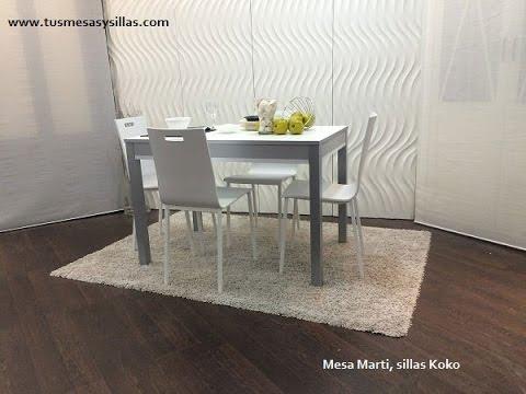 Mesa cocina extensible blanca pata deslizante Marti 110x70