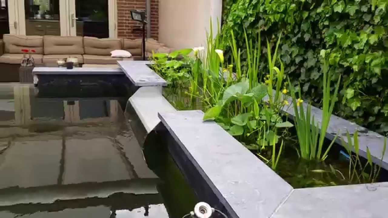 Plantenfilter met waterval op airlift youtube for Vijverrand maken