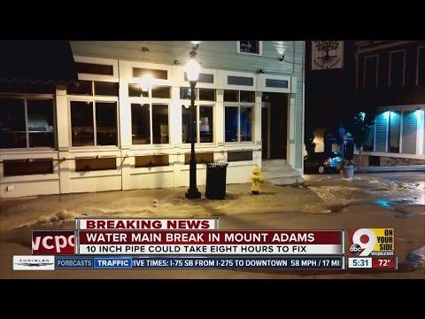 Water main break in Mount Adams floods business district streets