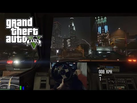 Grand Theft Auto 5 | Slow Taxi Driving in Storm | Wheel & Manual Gearbox and Realistic Driving Mod thumbnail