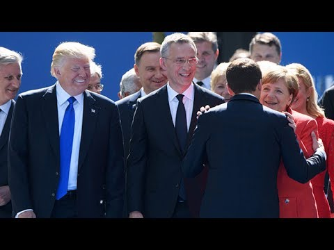 Macron appears to swerve in effort to avoid Trump at Nato summit