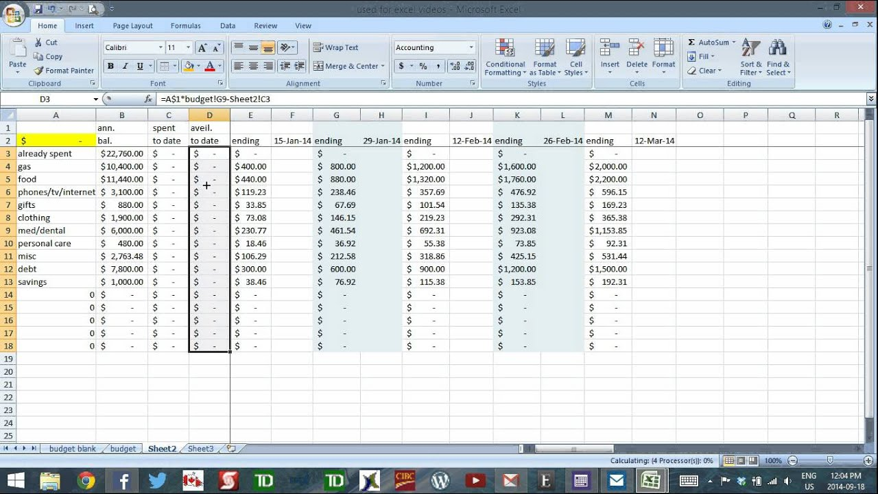 Using Excel to Budget - part 7 - Budget for Irregular Income - YouTube