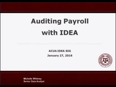 Auditing Payroll with IDEA - ACUA IDEA SIG