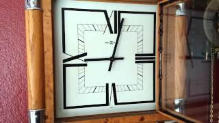 Vintage Mid Century Modern Howard Miller Wall Clock Pendulum Chrome Wood Deco