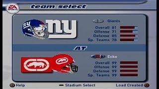 Madden 2002 Giants vs Ecko