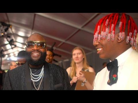Rick Ross Runs Into Lil Yachty, Skrillex, Ziggy Marley & 2 Chainz On The Grammy's Red Carpet