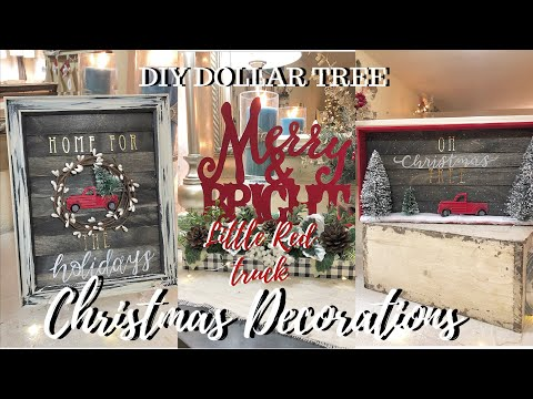 LITTLE RED TRUCK | DIY DOLLAR TREE CHRISTMAS DECOR