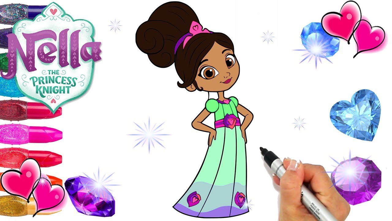 Nella Princess Knight Beautiful Dress Coloring Page Decorated With Glitter And Gems Nick Jr