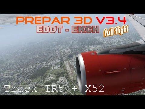 ✈ Prepar 3D V3.4 ✈ EDDT - EKCH ✈ Copenhagen full flight   TrackIR 5 + X52