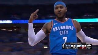 Carmelo Anthony Gets 1st Bucket With Thunder vs. Knicks