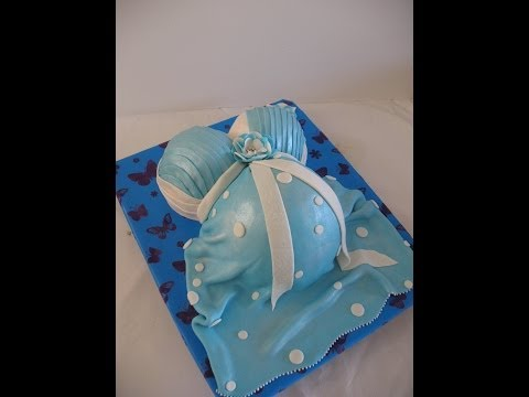 How to make a pregnant woman belly cake
