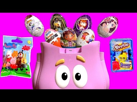 Thumbnail: Dora Backpack Surprise Kinder Eggs PeppaPig MyLittlePony MonsterHigh Disney Frozen Shopkins2