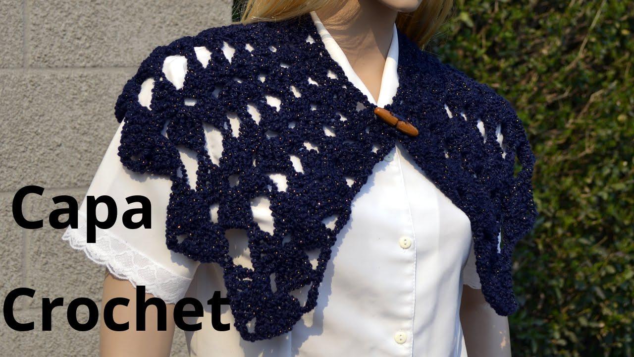 Como tejer una #capa punto abanico en tejido crochet o ganchillo ...