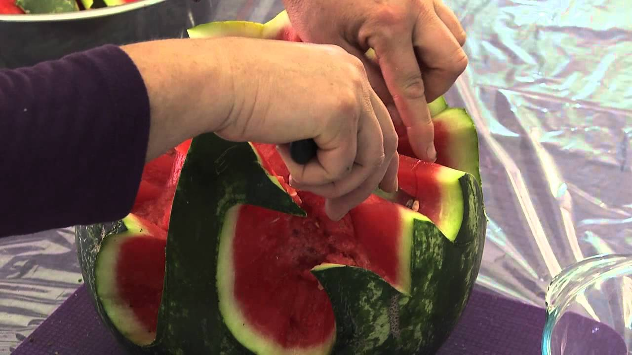 Stop Sign Shape >> Carved Watermelon Peacock Centerpiece - YouTube