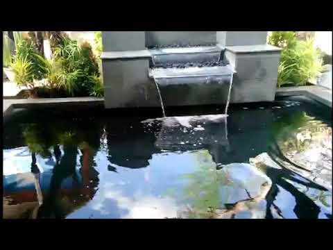 kolam ikan minimalis simple dan cantik depan rumah terbaik