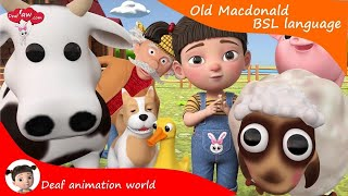 Learn #BSL Old McDonald nursery rhymes kids song Animation for #deaf  #hearingloss #signlanguage