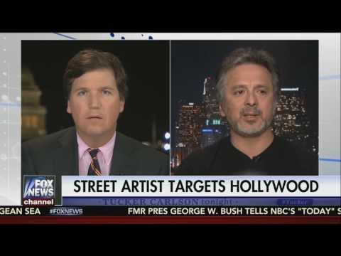Street Artist SABO Mocks Hollywood - Tucker Carlson