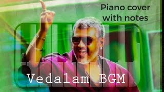 Vedalam Title card BGM | Thala Ajith | Anirudh | Piano cover with notes | Walkband