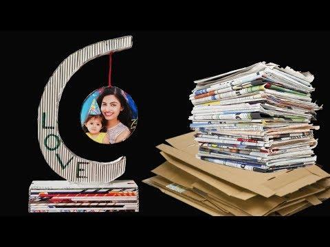 Newspaper Showpiece Photo Frame DIY Craft Idea LifeStyle Designs