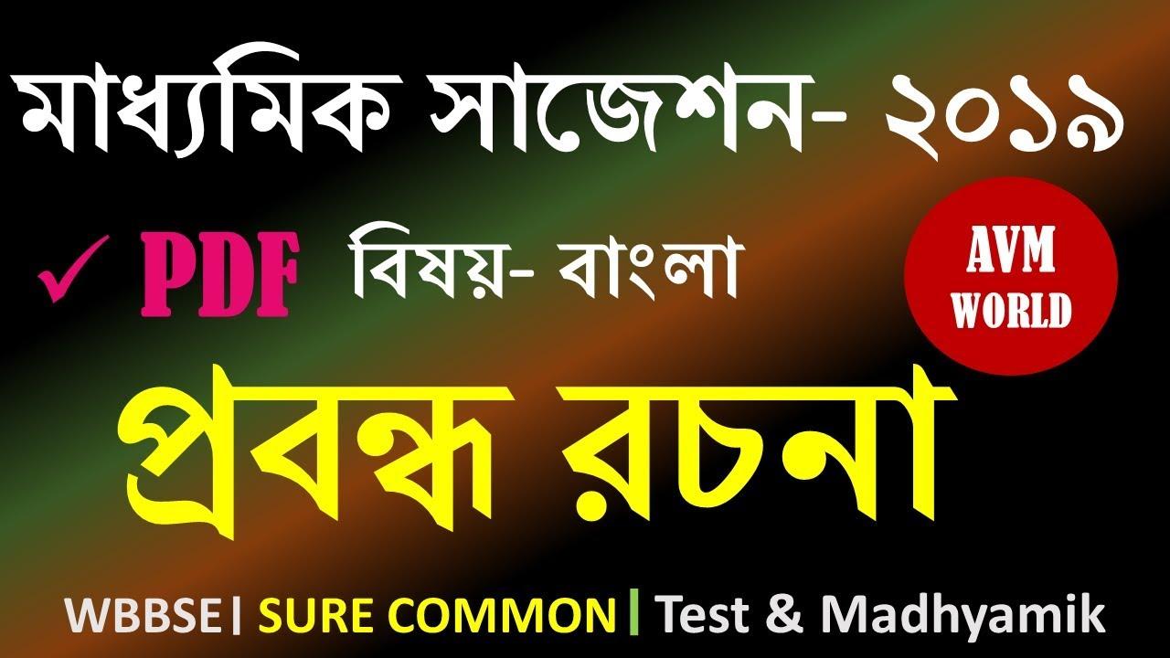 Madhyamik Suggestion 2019 । Bengali । WBBSE Essay