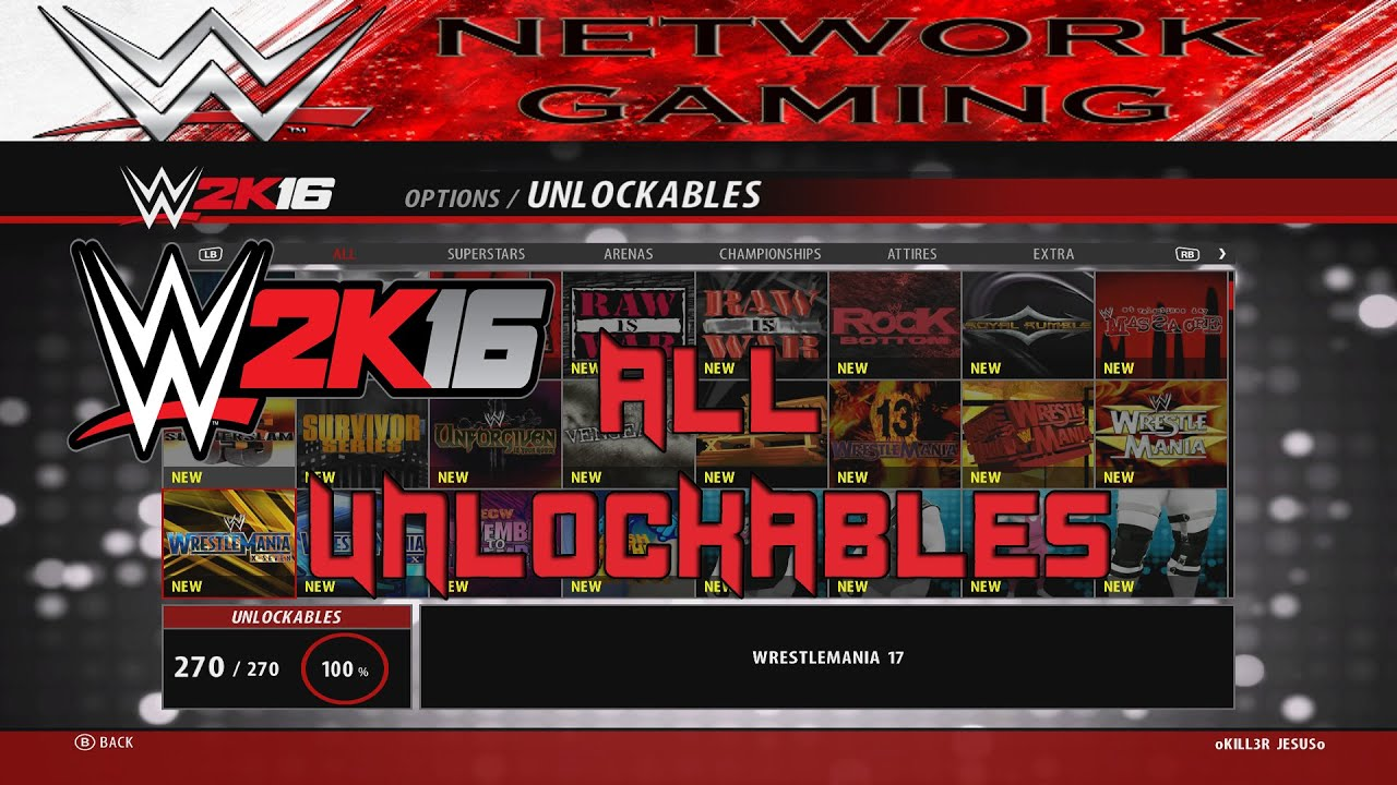 <b>WWE 2K16</b> ALL <b>Unlockables</b> - PS3 / PS4 / XBOX 360 / XBOX ONE - YouTube