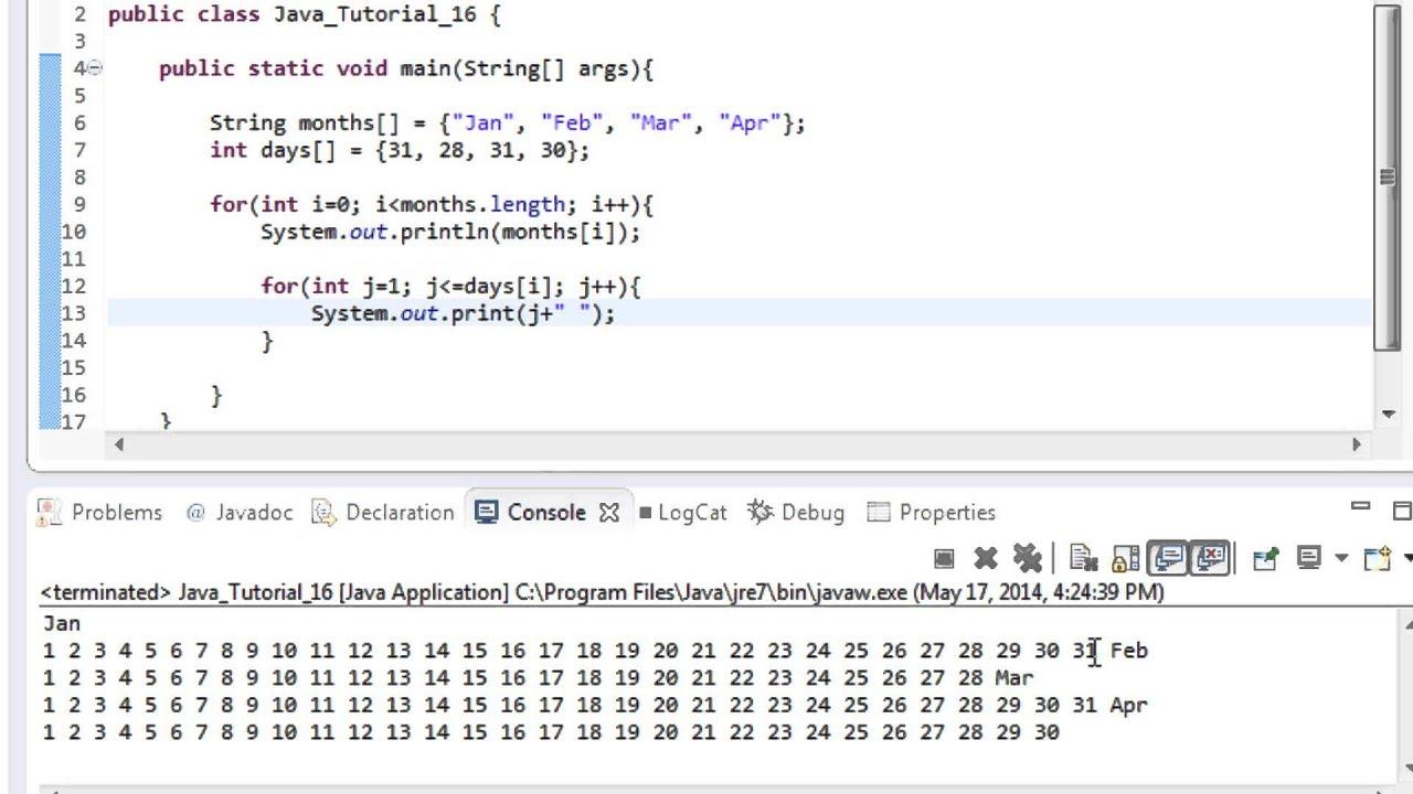 Beginner java tutorial 16 nested loops in java with arrays youtube beginner java tutorial 16 nested loops in java with arrays baditri Gallery