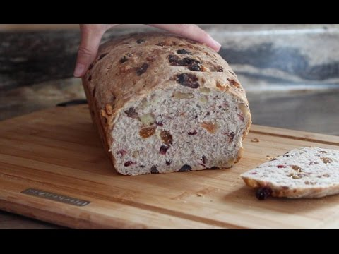 Breakfast bread with walnut, raisin, almond and cranberries