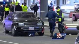 car jumps curb hits 3 people at logan