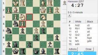 LIVE  Blitz Chess #149 vs Hanssen (2257) - Black with Dutch Defense Leningrad variation (A89)