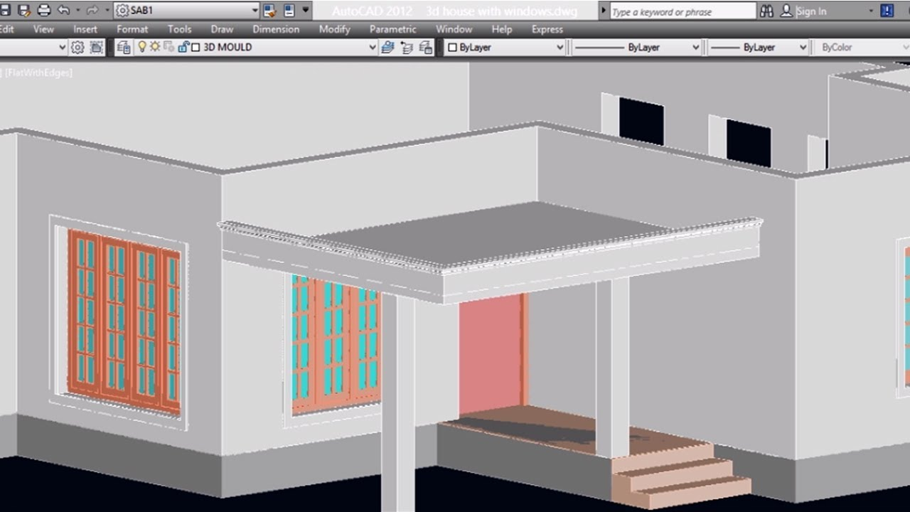 AUTOCAD 3D HOUSE PART5 - CAR PORCH | AUTOCAD PORCH | 3D CAR PORCH ...