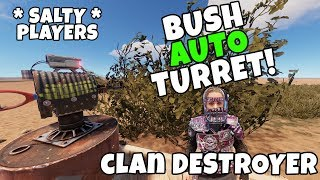 RUST | HIDING AUTO TURRET TRAPS inside BUSHES for GEAR *Triggered clans*