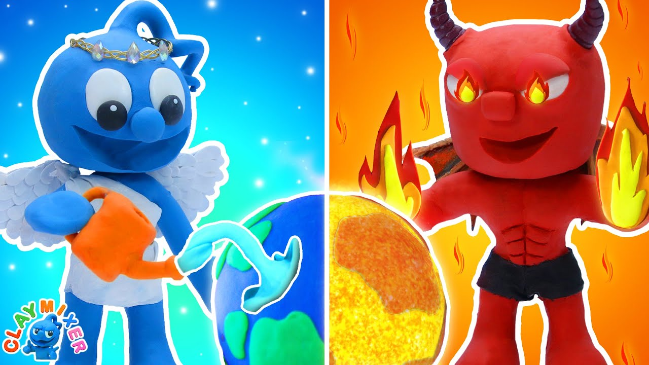 Download Tiny Saves Earth from the Devil - HOT vs COLD Challenge Stop Motion Animation   Clay Mixer Film