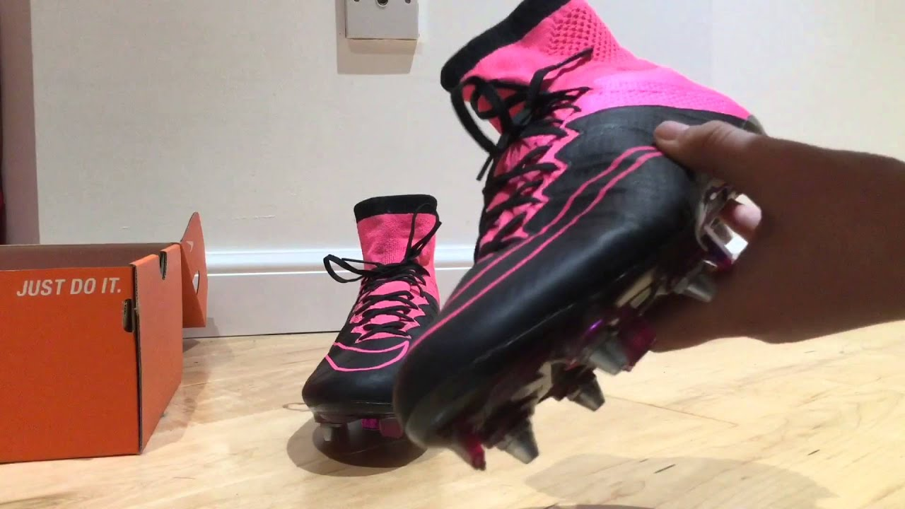 9e56e87ba8a Nike mercurial superfly pink black leather review - YouTube