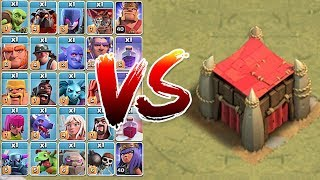 "How many troops UNTIL Destroyed!?! ""Clash Of Clans"" Goblin CASTLE!!!"