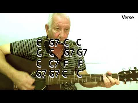 Red River Valley (C) - acoustic cover - easy chord guitar lesson - on-screen chords and lyrics