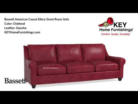 Bassett American Casual Ellery Great Room Sofa Leather Covers | Living Room Furniture Video | 2018