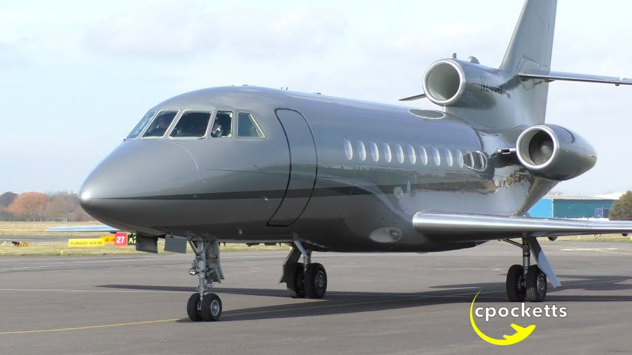 MustSee: Dassault Falcon 900 N239AX - Very close Landing - Taxi - Take off  - Gloucestershire Airport - YouTube
