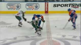 Taylor Hall Hip Check on Cal Clutterbuck Oilers vs Wild Feed - Feb 21 2013
