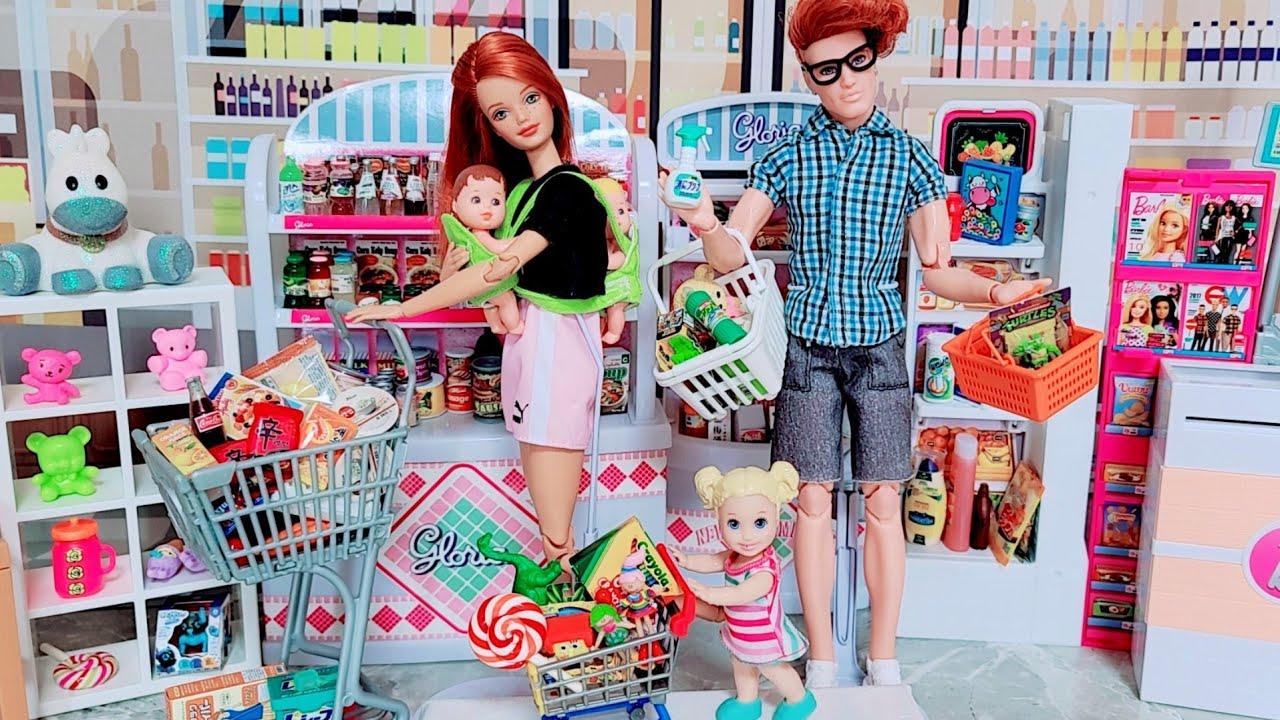 바비 인형 놀이 마트에서 캘리를 잃어버렸다😱😭 Barbie & Ken Family Supermarket Grocery Shopping Video - Barbie Lost Kelly