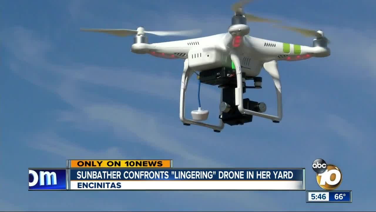Sunbather Confronts Drone In Her Yard