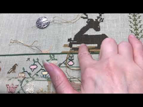Закрепка нитки при вышивке крестом.