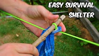 How to Set Up a Shelter Tarp Fastest Way - Survival Hack by : CrazyRussianHacker